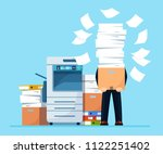 busy businessman with pile of...   Shutterstock .eps vector #1122251402