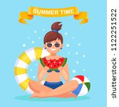 sitting woman hold watermelon... | Shutterstock .eps vector #1122251522