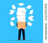 busy businessman with pile of...   Shutterstock .eps vector #1122251525