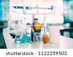 chemistry glassware and... | Shutterstock . vector #1122259502