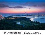 Beautiful sunset view of jiangyin Yangtze river bridge in jiangsu province, China