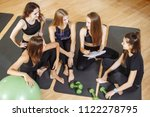 young attractive woman trainer... | Shutterstock . vector #1122278795