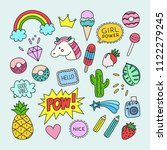 vector patch set in cartoon... | Shutterstock .eps vector #1122279245