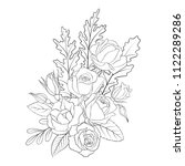 line drawing vector floral... | Shutterstock .eps vector #1122289286