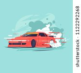 drift  the car rides sideways.... | Shutterstock .eps vector #1122292268