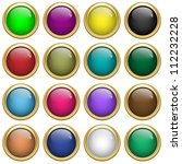 web buttons round with gold... | Shutterstock . vector #112232228