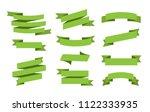 vector green ribbons set.... | Shutterstock .eps vector #1122333935