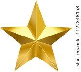 golden metal 3d star  isolated... | Shutterstock .eps vector #1122348158