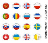 glossy buttons   european flags | Shutterstock .eps vector #112235582