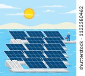 floating solar farm  solar cell ... | Shutterstock .eps vector #1122380462