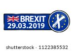 brexit 2019 date   blue square... | Shutterstock .eps vector #1122385532