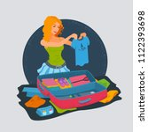girl packing her clothes in a...   Shutterstock .eps vector #1122393698