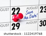 wall calendar with a red pin  ... | Shutterstock . vector #1122419768