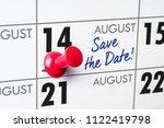wall calendar with a red pin  ... | Shutterstock . vector #1122419798