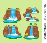 waterfalls set. cartoon... | Shutterstock .eps vector #1122428702