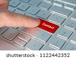 big red contact us keyboard... | Shutterstock . vector #1122442352
