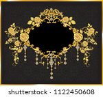 golden mirror frame decorated... | Shutterstock .eps vector #1122450608
