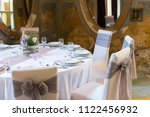 wedding chair with ribbon  gray ... | Shutterstock . vector #1122456932