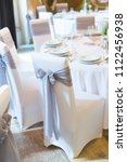 wedding chair with ribbon  gray ... | Shutterstock . vector #1122456938