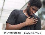 sick african man with heart...   Shutterstock . vector #1122487478