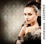 Beautiful Woman In Luxury Fur...