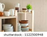 storage stand with ceramic and... | Shutterstock . vector #1122500948