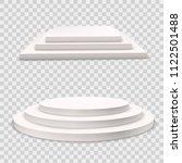 winner podium  set.  white 3d... | Shutterstock .eps vector #1122501488
