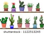 pattern of cactus in pots | Shutterstock .eps vector #1122513245
