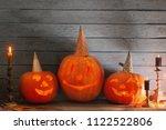 halloween pumpkin on old wooden ... | Shutterstock . vector #1122522806