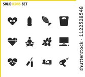 activity icons set with flower  ...