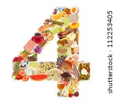 number 4 made of food isolated... | Shutterstock . vector #112253405