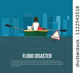 flood disaster with flood... | Shutterstock .eps vector #1122543518