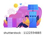 man charges smartphone from...   Shutterstock .eps vector #1122554885