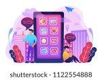 a mens near huge smartphone... | Shutterstock .eps vector #1122554888