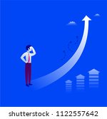 businessman is looking up at... | Shutterstock . vector #1122557642