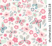 Stock vector vector seamless pattern with butterflies and flowers floral cute spring background retro vintage 1122568118