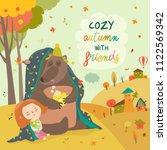 little girl and bear sitting... | Shutterstock .eps vector #1122569342