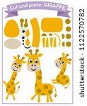 cut and paste.three giraffes... | Shutterstock .eps vector #1122570782