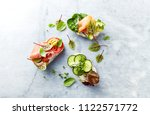 healthy open sandwiches with... | Shutterstock . vector #1122571772