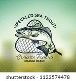 vintage sea trout fishing... | Shutterstock .eps vector #1122574478