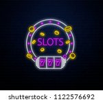 neon casino slots sign isolated ...   Shutterstock .eps vector #1122576692