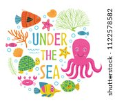 under the sea card with marine... | Shutterstock .eps vector #1122578582