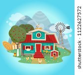 farmhouse in cartoon flat style.... | Shutterstock .eps vector #1122627572