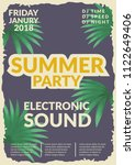 electronic music retro poster.... | Shutterstock .eps vector #1122649406