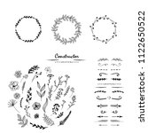 floral hand draw black and... | Shutterstock . vector #1122650522