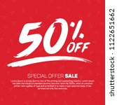 50 percent off offer tag banner ... | Shutterstock .eps vector #1122651662