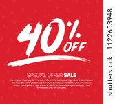 40 percent off  special offer... | Shutterstock .eps vector #1122653948
