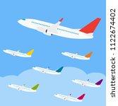 side view passenger plane... | Shutterstock .eps vector #1122674402