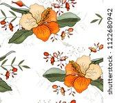 retro wild seamless flower... | Shutterstock .eps vector #1122680942