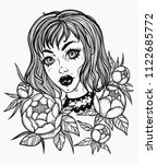 hand drawn beautiful girl with... | Shutterstock .eps vector #1122685772